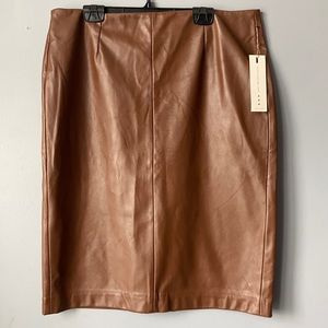 DEX Dark Camel Faux Leather Skirt🍂